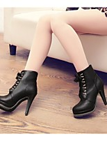 Women's Shoes Leatherette Stiletto Heel Heels /Round Toe Boots Outdoor / Office & Career / Casual Black / Beige