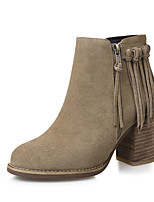 Women's Shoes Leather Chunky Heel Fashion Boots / Round Toe Boots Dress / Casual Black / Beige