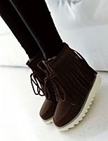 Women's Shoes Leatherette Wedge Heel Combat / Round Toe Boots  / Office & Career / CasualBlack / Brown / Yellow / Red /