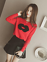 Women's Solid Red / Black Pullover , Vintage Long Sleeve