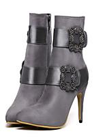 Women's Shoes Fleece Kitten Heel Pointed Toe Boots Casual Black / Purple / Gray