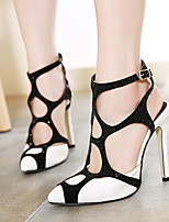 Women's Shoes Synthetic Stiletto Heel Pointed Toe Heels Dress Black/White
