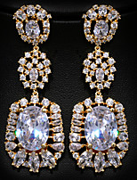Gorgeous Gold Alloy with Clear Crystals Rhinestones Fashion Earrings Party Earrings (with Gift Box)