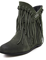 Women's Shoes Leather Wedge Heel Fashion Boots / Pointed Toe Boots Dress / Casual Black / Brown / Green