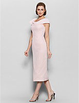 Sheath/Column Mother of the Bride Dress - Pearl Pink Tea-length Short Sleeve Chiffon