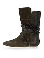 Women's Shoes Suede Flat Heel Fashion Boots Boots Office & Career / Party & Evening / Dress Black / Green