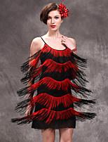 Latin Dance Dresses Women's Performance Nylon / Spandex / Milk Fiber Tassel(s) 1 Piece Blue / Red / White