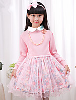 Girl's Pink Dress , Dresswear Cotton Blend Winter