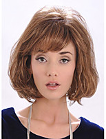 Capless Middle Length High Quality Synthetic Brown Curly Hair Wig Full Bang