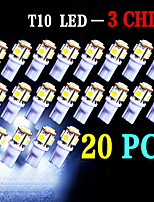 20 PCS Super White T10 Wedge 5-SMD 5050 LED Light bulbs W5W 2825 158 192 168 194