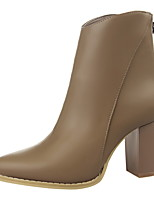 Women's Shoes Chunky Heel Heels / Bootie / Pointed Toe / Closed Toe Boots Dress Black / Beige / Khaki