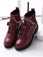 Women's Shoes Low Heel Round Toe Boots Casual Black / Burgundy
