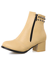 Women's Shoes Chunky Heel Fashion Boots Boots Party & Evening / Dress / Casual Black / Red / Beige