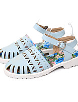 Women's Shoes Leatherette Flat Heel Ankle Strap / Styles Sandals Outdoor / Casual Blue / White / Beige