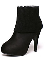 Women's Shoes Suede Stiletto Heel Round Toe Boots Casual Black / Brown