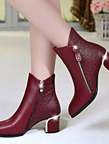 Chaussures Femme - Habillé / Décontracté - Noir / Rouge - Gros Talon - Confort - Bottes - Similicuir