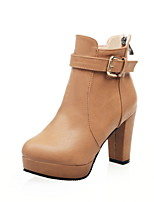 Women's Shoes Leatherette Chunky Heel Round Toe / Closed Toe Boots Office & Career / Dress / Casual Black / Bone