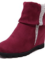 Women's Shoes  Wedge Heel Combat Boots / Round Toe Boots Outdoor / Dress / Casual Black / Burgundy