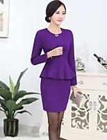 Women's Solid Black / Green / Purple Blazer , Work Asymmetrical Long Sleeve
