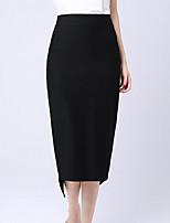 Women's Solid Black Skirts , Work Knee-length