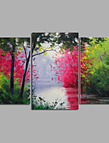 pronto para pendurar pintado à mão pintura a óleo da lona da parede da arte floresta paisagem verão árvores estrada esticada três painéis