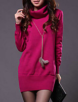 Women's High Collar All Match Solid Pullover , Casual / Work Long Sleeve