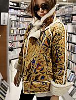 Women's Print Yellow Coat , Casual Long Sleeve Fleece