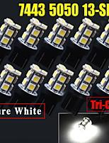10 X White T20 7443 5050 13SMD Tail Brake Side Marker Parking Light Bulb 7444NA