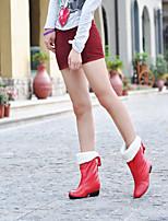 Zapatos de mujer - Tacón Bajo - Botas de Nieve / Punta Redonda - Botas - Exterior / Oficina y Trabajo / Casual - Semicuero -Negro / Rojo