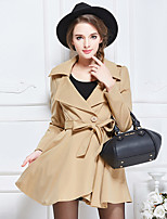 Women's Solid Blue / Red / Yellow Trench Coat , Casual / Work / Plus Sizes Long Sleeve Others