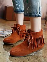 Women's Shoes Suede Flat Heel Bootie / Comfort / Round Toe / Closed Toe Boots Casual Black / Brown / Green / Beige