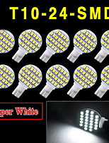 10 X White Car RV Landscaping T10 Wedge 24-SMD LED Light W5W 921 194 2825 168