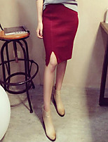 Women's Solid Red / Black / Brown / Gray Skirts , Vintage Knee-length