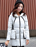 Women's Solid Red / White / Black  Parka Coat , Casual Hooded Long Sleeve