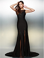 Vestido - preto Festa Formal Sereia U profundo Cauda Média Jersey