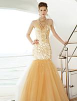 Vestido - Dourado Festa Formal Sereia Frente única Longo Tule