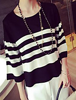 Women's Striped White / Black Pullover , Sexy / Casual ¾ Sleeve