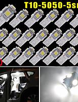 20x blanco puro 5 smd t10 cuña 168 194 2825 llevó el bulbo de luces de la matrícula