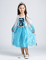 Girl's Blue Dress , Cartoon Acrylic / Cotton / Organza All Seasons
