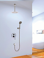 Shower Faucet Contemporary Chrome Wall Mounted Double Handles Brass with  Shower Head and Hand Shower