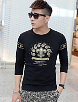 Men's Sleeve Length Tops Type ,Fashion Round Collar Long Sleeve Cotton Blend Casual Print