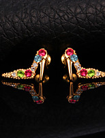 InStyle 18K Chunky Gold Plated Shoes Stud Rhinestone Earrings High Quality