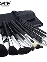 Soffio 12 Makeup Brushes Set Horse / Goat Hair / Synthetic Hair Professional / Travel Wood Face / Eye / Lip