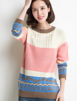 Women's Floral / Striped Multi-color / Beige Pullover , Casual / Print / Cute Long Sleeve