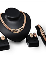 An exaggerated punk Necklace Earrings Bracelet Ring Jewelry four sets