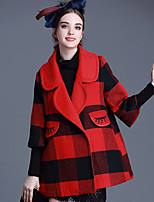 Women's Geometric Blue / Red Coat , Casual Long Sleeve Tweed / Wool / Others