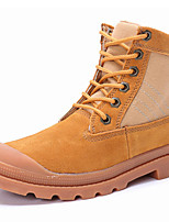 Women's Shoes Suede Flat Heel Motorcycle Boots / Combat Boots Boots Outdoor / Casual Yellow