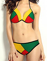 Women's Halter Bikinis , Color Block / Geometric Push-up / Wireless Polyester / Spandex Purple / Blue / Red