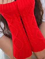 Women Twist Knitwear Fingerless Warm Long Gloves , Casual