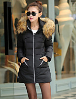 Women's Solid Red / Black / Green Parka Coat , Casual Hooded Long Sleeve